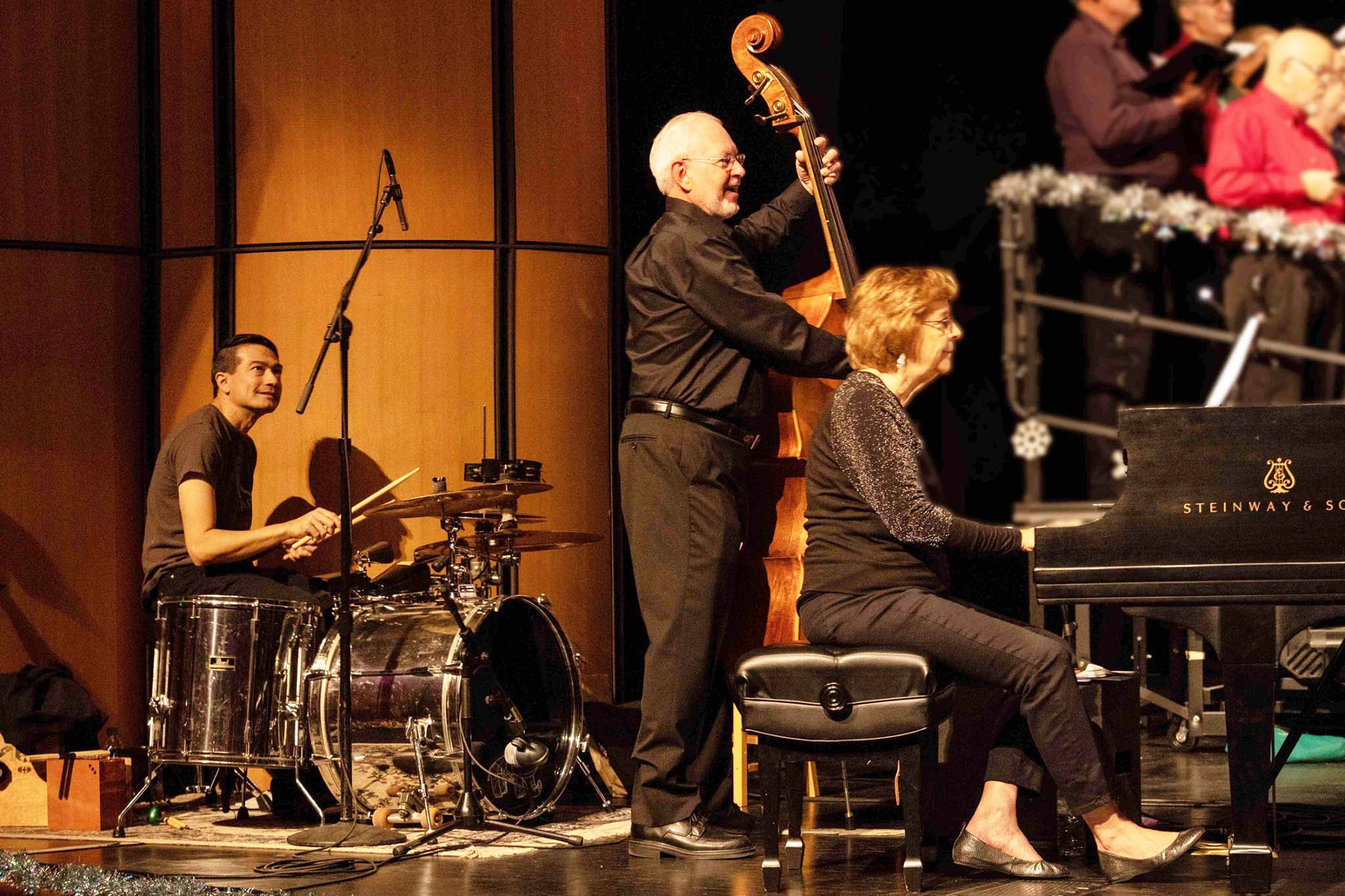 Our accomplished musicians Ben Adams (drums),  David Christmas (bass), Mary Sievert (grand piano)